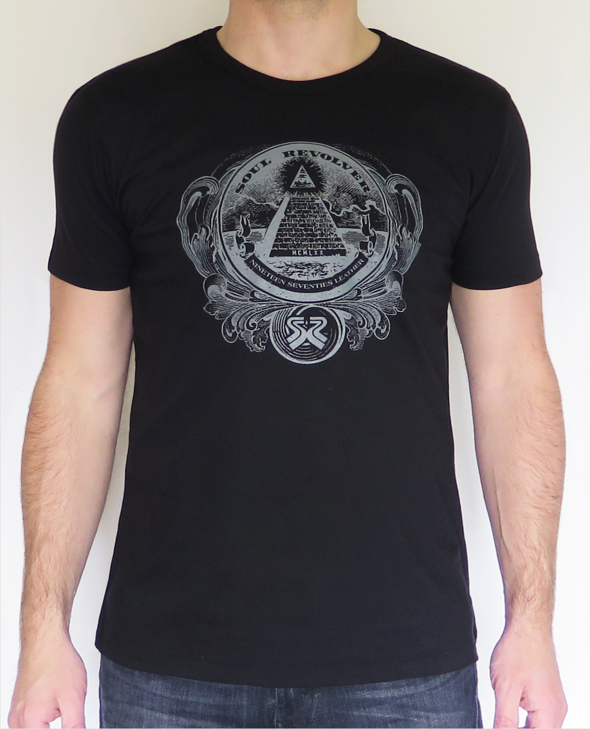 Men 39 s fitted black pyramid design t shirt by soul revolver for Black pyramid t shirts for sale